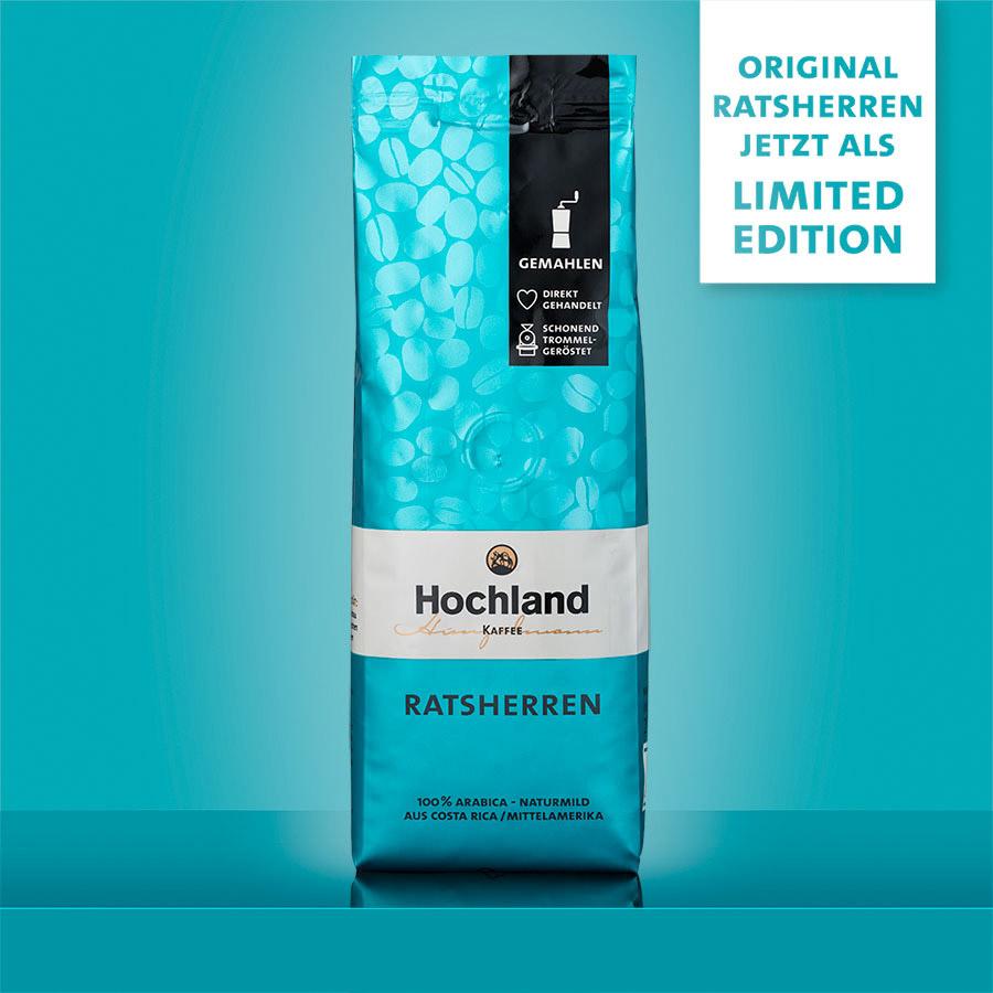 Hochland Kaffee Original Ratsherren Limited Edition in Türkis auf gleichfarbigem Hintergrund