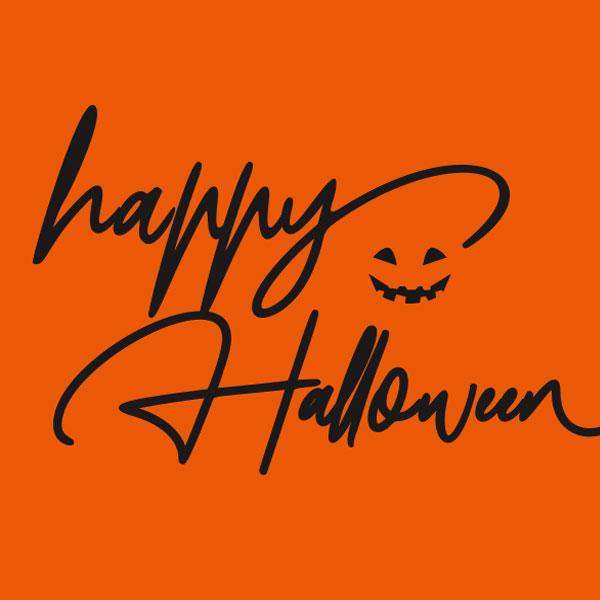 Halloween Typografie auf orangem Hintergrund