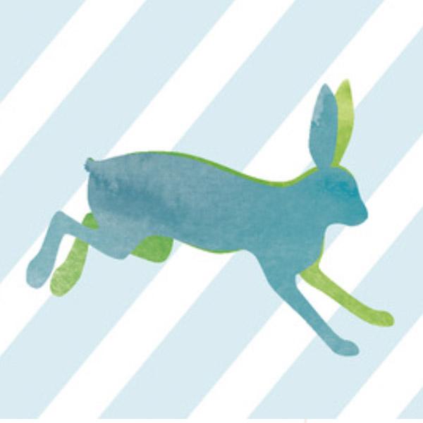 Hochland Ostersortiment mit Hase auf Streifen