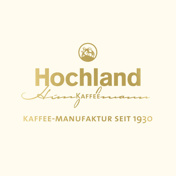 Hochland Kaffee Logo Bildmarke in gold
