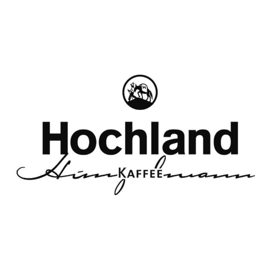 Hochland Kaffee Hunzelmann Logo schwarze Bildmarke auf weißem Hintergrund